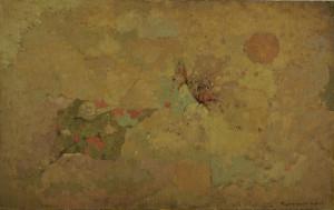 福井良之助「蝶と太陽」1966年頃10号油彩